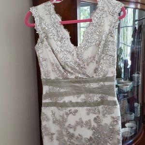 Takashi white & silver shimmer sequin dress